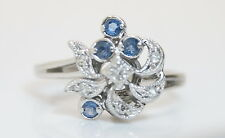 Vintage 10K White Gold .10 TCW Floral Style Diamond & Sapphire Ring 1/10 Carat