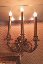 Solid Brass Electric Wall Sconce 3 Arm Lights -  Vintage Rare Tall