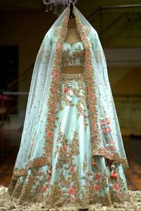 Saree Bollywood Designer Indian Pakistani Lehenga Sky Lengha Blouse Dress Set