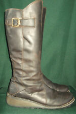 Fly London Mol Long Boots~EU 40~Distressed Brown Leather
