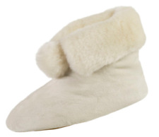 isotoner Signature Ewe Ivory Plush Velour Faux Fur Booties Slipper w/Memory Foam