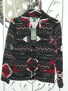 NWT Lauren Jeans Co ~ Sm Pet ~ Southwestern print jacket Black Red & Ivory  $119