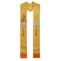 1Pc Clergy Pastor Flower Cross Crown Embroidered Stole Church Priest Mass Stole