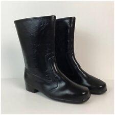 Vintage NOS 60s Mod Black Vinyl Leather Look Mid Calf Rain Boots Fleece Lined 6
