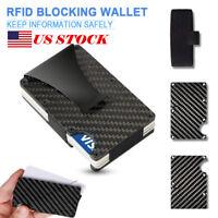 Slim Carbon Fiber Credit Card Holder RFID Blocking Metal Money Clip Purse Wallet