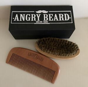 Boar Bristle Beard Mustache Comb Wood Set Handle Hair Brush Shaving Tool for Men
