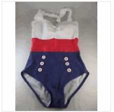 FABLES by BARRIE Sailor Blue Red White Pin Up Retro Style Halter Swimsuit S XS