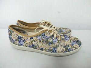 Ladies Blue & Beige Floral Pattern Hotter Lace Up Plimsolls - UK Size 9   A21