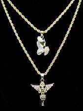 2pc Layered Chain Set Angel + Praying Hands Cz Pendants 14k Gold Plated Hip Hop