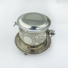 Atkin Bros Engraved Biscuit Barrel Dog Head Handles Silverplate