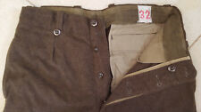 Vtg 100% Wool Pants-Button Fly-32-Mens-Olive Greenish Brownish-Military-Pockets