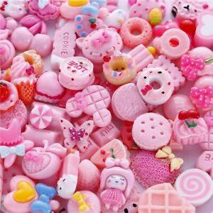 10 Resin Cabochons Food Slime Charms Valentines Day Pink Assorted Lot