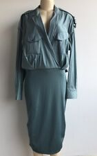 NWOT $1065.00 Max Mara Italy Silk/Cotton Knit Bottom Military Shirt Dress Sz 14