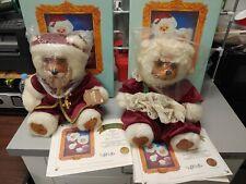 1988 Raikes Wooden Plush Bears 21390 Santa Claus & 21391 Mrs. Claus In Box