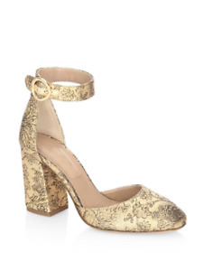 MICHAEL KORS COLLECTION Rena-Gold Shimmery Ankle Strap Pumps-CURRENT-SZ 37-NEW