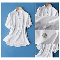 Lady Linen Cotton Short Sleeve Shirt Retro Tunic Blouse Sheer Thin Summer Top