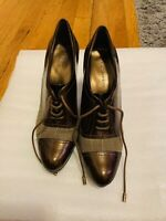 Anne Klein BROWN Two Tone Lace Up Cap Toe Work Dress Heels Womens size 8M
