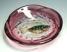 Murano Alfredo Barbini Art Glass Bowl - Dimensional Fish in Amethyst Glass