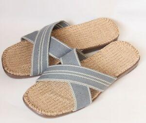 LOHAS Jute Hemp Flax Natural Sandals Slippers Flip Flops Slides - men(SX15bl)