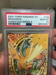 2000 Topps Pokemon TV Animation Series 3 #149 Dragonite Blue Logo PSA 10 LOW POP