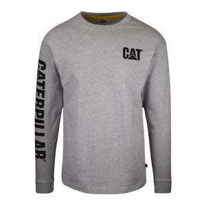 Caterpillar Men's Light Heather Grey Trademark Banner L/S T-Shirt