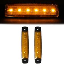 2 Pcs 24V Side Marker Amber Lights Indicator Lamps Truck Bus Van Caravan 6 LED