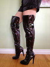 8  Lot 2 patent Leather animal print Over The Knee thigh high boots,Hot, Sexy
