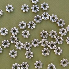 Tibetan Silver Spacer Beads Snowflake Daisy Antique Silver- 100pcs.