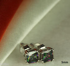 Square Cz Stud Earrings 5m M 1.2c/E Sterling Silver Mystic Topaz Peacock Rainbow