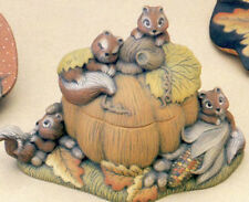 Ceramic Bisque Ready to Paint Squirrels and Pumpkin Box