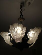 Stunning Rare Estate Frosted Glass Deco Chandelier Lamp Genet Et Michon 1920's!
