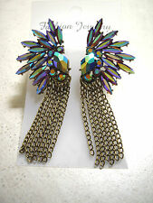 FASHION colorful rhinestone angel's wing BRONZE fringe dangle stud earring