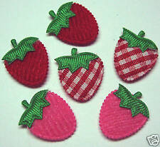 Cute Padded Felt/Gingham Strawberry Appliques x 90-Kids