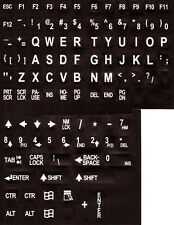 Large Print Jumbo Characters English Keyboard Stickers White on Black