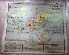 PLANISPHERE FRENCH COLONIES ANTIQUE WALL MAP VIDAL-LABLACHE 1930 XXe CENTURY