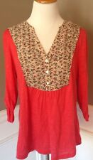Deletta Anthropologie M Salon on Pink 3/5 Sleeve Knit Top W/Floral Contrast