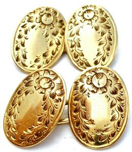 Victorian 10K Gold Cufflinks Men's Jewelry Hand Engraved Antique Oval Cuff Links
