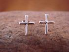 Native American Sterling Silver Cross Post Earrings Navajo Indian Jewelry