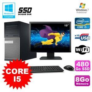 """Lot PC Tour Dell 790 Core I5 3.1Ghz 8Go 480Go SSD DVD WIFI Win 7 + Ecran 19"""""""