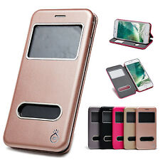 Luxury Leather Flip Stand Cover View Window Case Skin For iPhone 6/ 6s/7 /7 Plus
