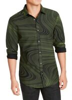 INC Mens Shirt Black Green Size Small S Abstract Scribble Button Down $65 104