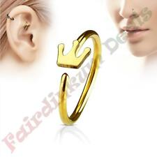 316L Surgical Steel Gold Ion Plated Nose & Ear Cartilage Ring with Crown