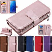 Magnetic Removable Zipper Leather Wallet Case Cover For Samsung S10 S9 S8 Plus