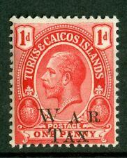 Turks & Caicos Islands 1919, War Tax Optd, 1d, SC# MR10, MNH Scarce 2105