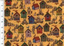 Bird Houses and Teddy Bears (Yellow) Quilt Fabric - Fat Half Yard Piece