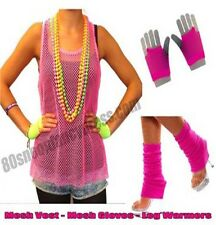 80s Mesh Net Sleeveless Vest Top With Leg Warmers & Mesh Gloves Fancy Dress Deal