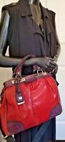 VIA REPUBLICA Wmn Red/Purple Leather Top Handle/Adjust Strap Satche Mssngr Bag