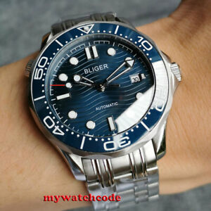 41mm bliger black blue dial sapphire glass 24 jewels NH35A automatic mens watch