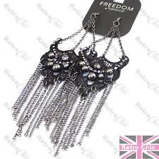 "6.5""LONG gothic BLACK CROCHET EARRINGS lace CHANDELIER chains RHINESTONE crystal"