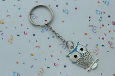 POPULAR OWL SILVERTONE AND BLUE  KEY RING,FREE POST